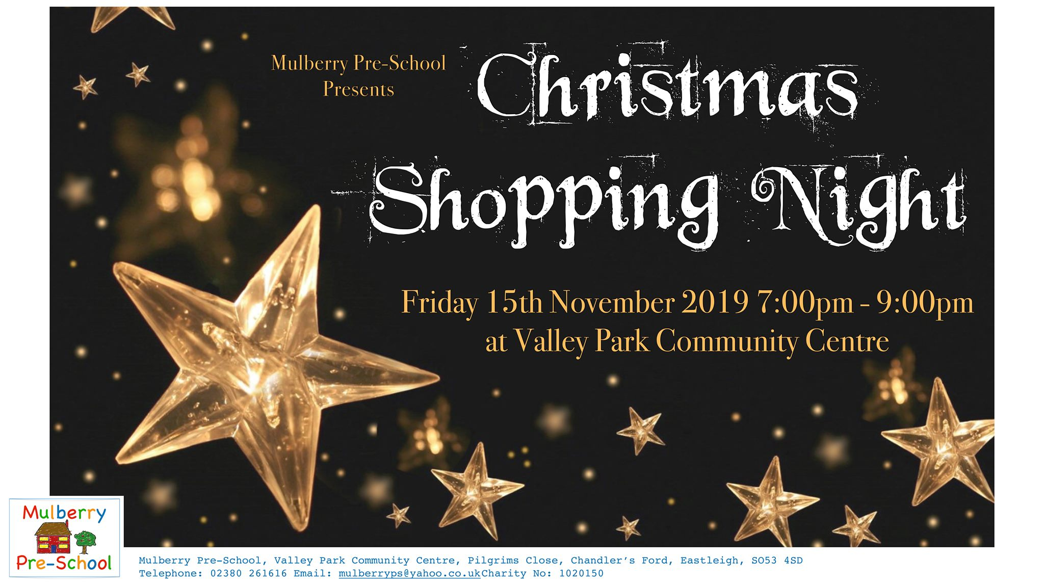 Mulberry Pre-school‎ Christmas Shopping Night - Friday, 15 November 2019 from 19:00 - 21:00 Valley Park Community Centre