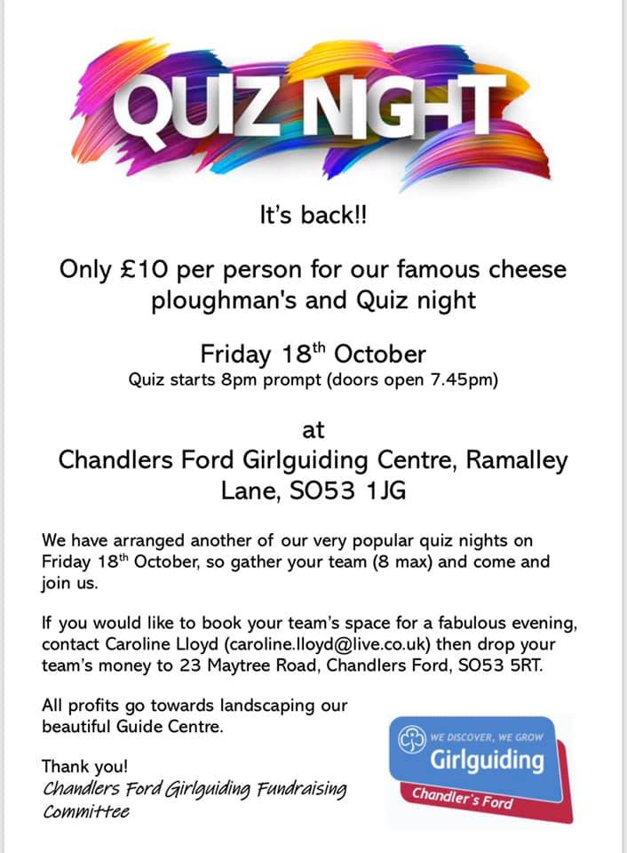 Quiz Night - Friday 18th Oct 2019 - Chandler's Ford Girlguiding Centre, Ramalley Lane