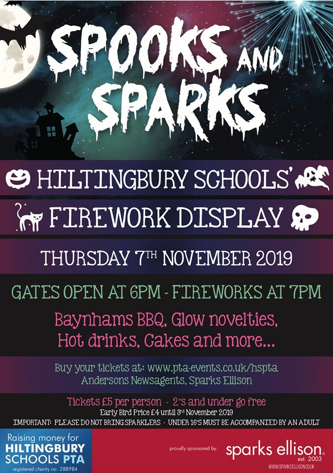 Spooks and Sparks 2019 - Thursday 7th Nov 2019 Hiltingbury Schools Firework Display