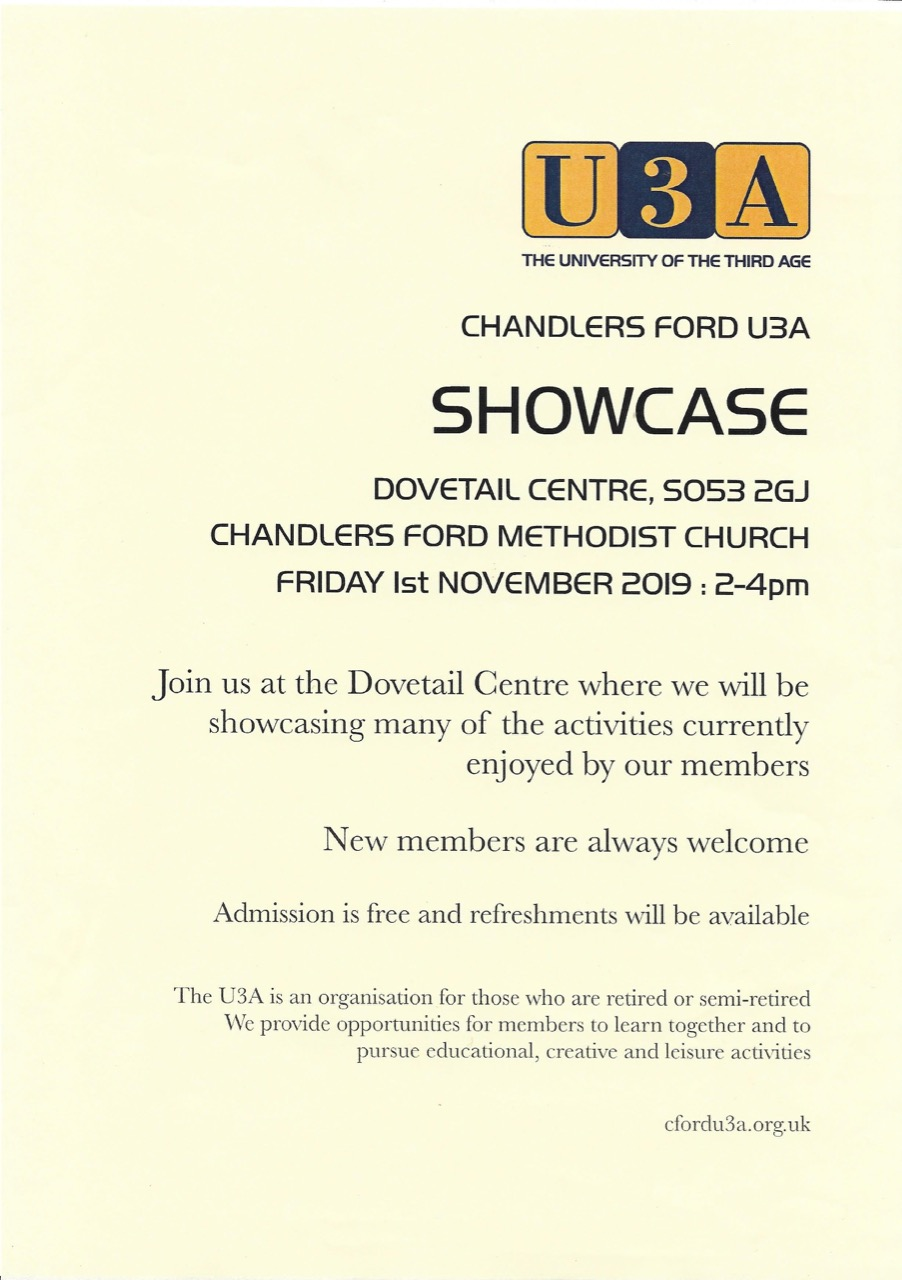Chandler's Ford U3A Showcase - Friday 1st November at Dovetail Centre, Chandler's Ford.