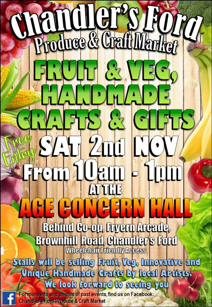 Fruit and Veg, Handmade Crafts and Gifts - Saturday 2nd November from 10am to 1pm at Age Concern Hall