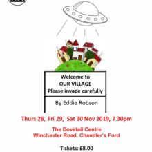 MDG Players next production is *'Welcome to our village, please invade carefully'* by Eddie Robson on Thursday 28^th – Saturday 30^th November in the Dovetail Centre Café at 7.30pm.