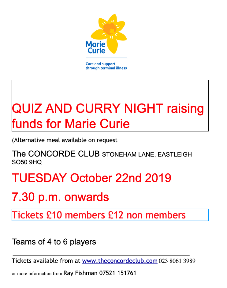 Quiz and Curry Night raising funds for Marie Curie: Tuesday 22nd October 2019