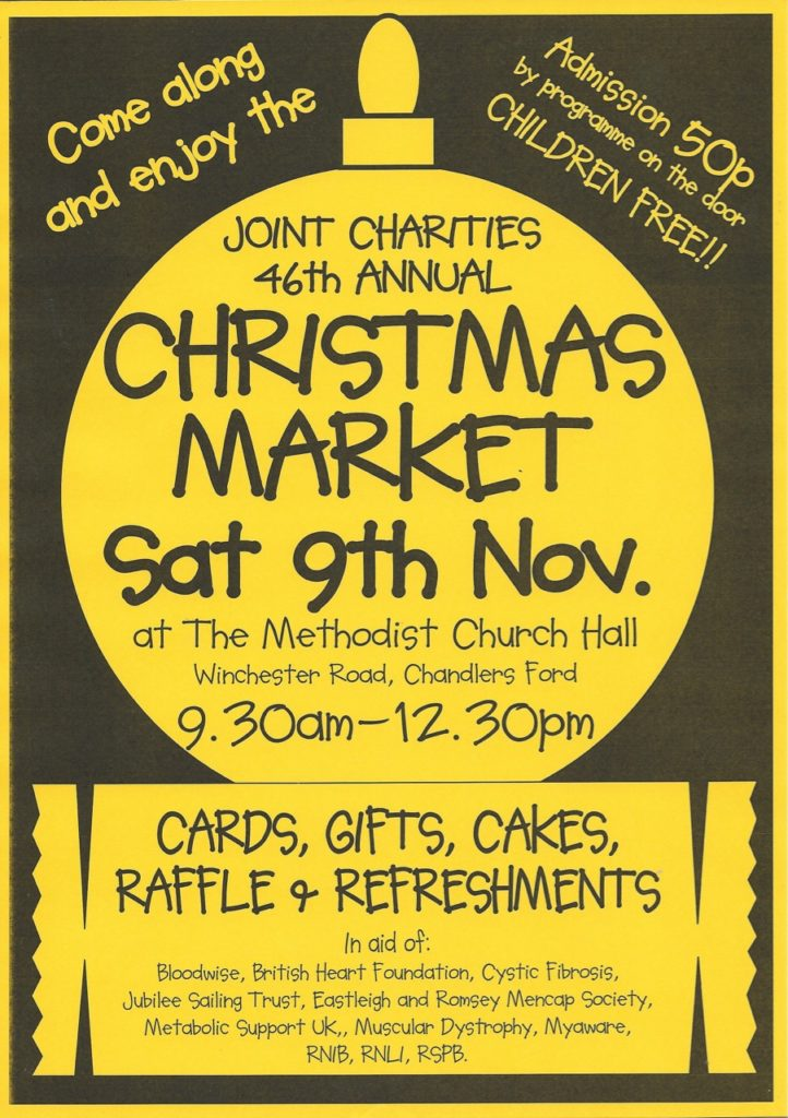 Sat 9th November - Join Christmas 46th Annual Christmas Market at the Methodist Church Hall