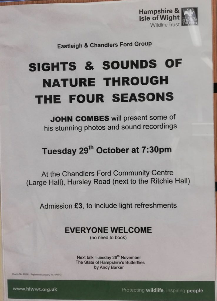 Hampshire and Isle of Wight Wildlife Trust 29 Oct 2019 - John Combes event