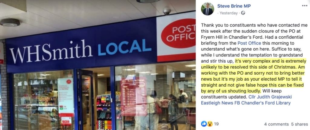 Steve Brine MP's update about the closure of the Fryern Hill post office