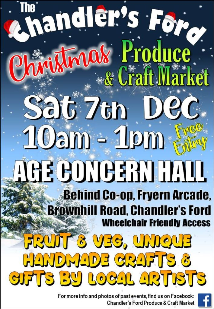 Chandler's Ford - Christmas Priduce and Craft Market - Sat 7th December 2019 10am to 1pm