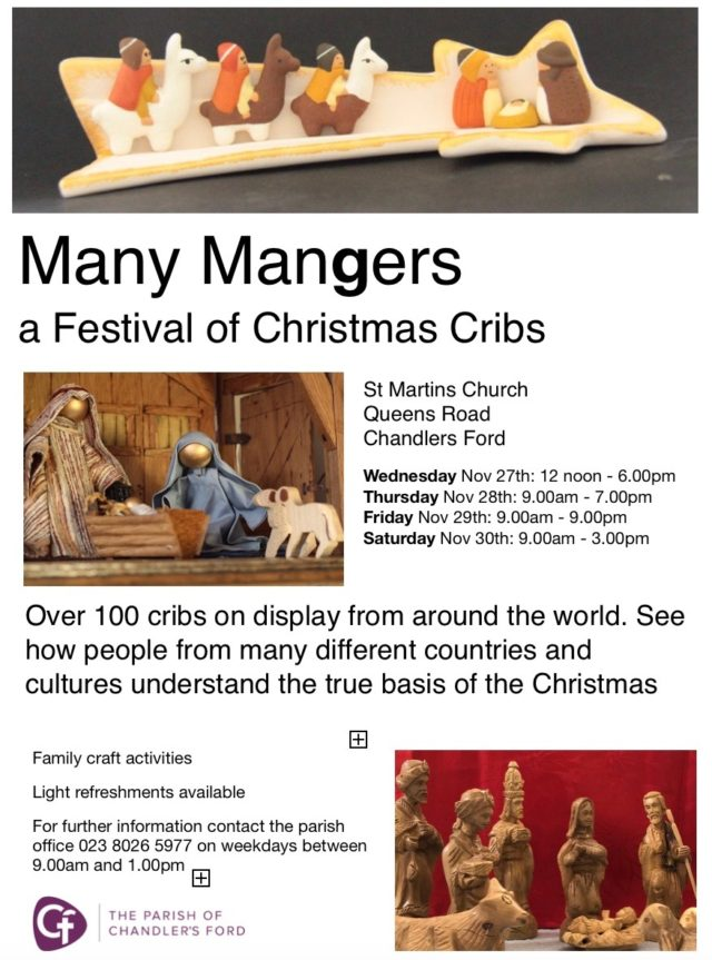 Flyer for Many Mangers exhibition