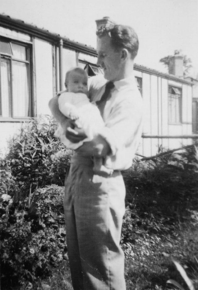 PHOTO 9 Jack Russell with Peter aged 2 months in September 1950 outside 42 Hook Road