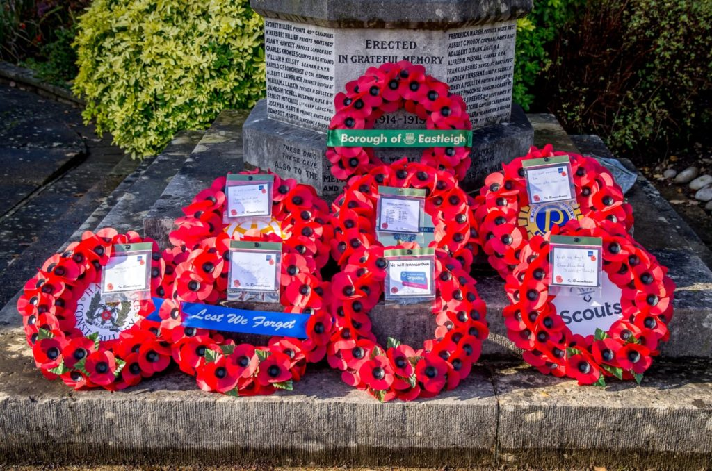 Poppy wreaths laid by representatives from various organisations. Remembrance Sunday 2019, Chandler's Ford, Eastleigh. Image credit: Debbie Pearce Photography