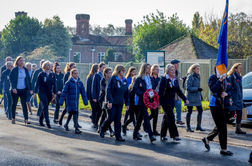 Traditional parade on Hursley Road. Remembrance Sunday 2019, Chandler's Ford, Eastleigh. Image credit: Debbie Pearce Photography