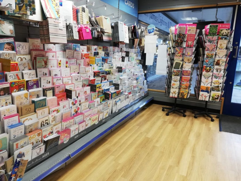 The Fryern Hill shop (no longer a WH Smith) sells a variety of cards, books, gifts, and stationery.