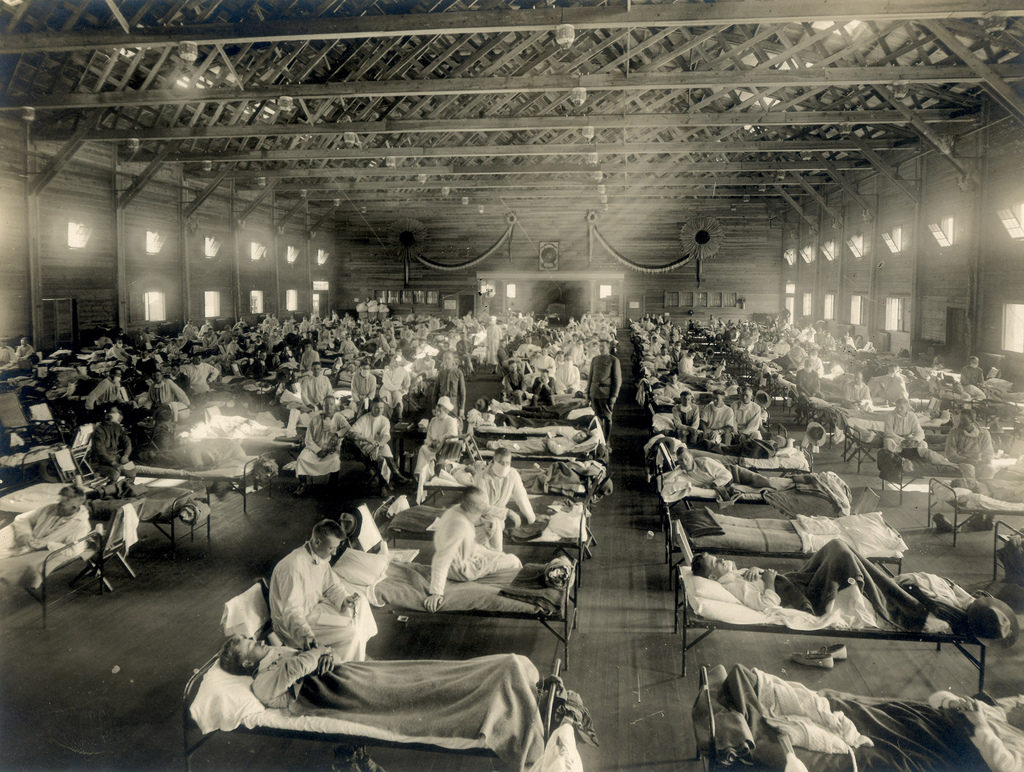 Army hospital ward in Kansas during the Spanish FLu epidemic [Otis Historical Archives. National Museum of Health and Medicine. NCP1603]