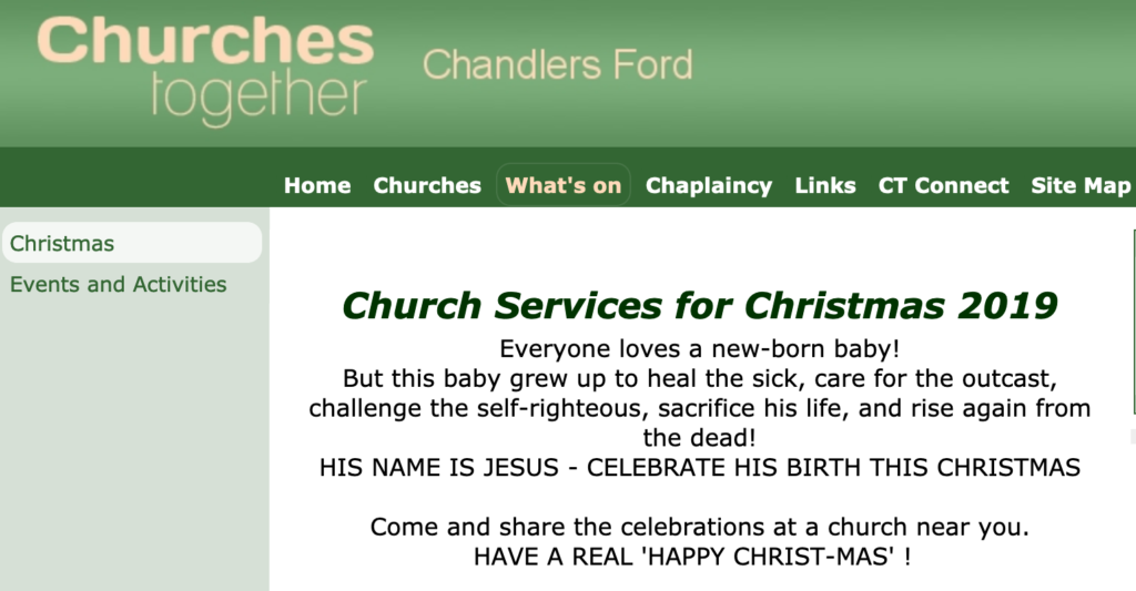 Click to read about Church Services for Christmas 2019 in Chandler's Ford