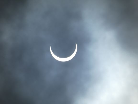Eclipse viewed through cloud. For the techies - Exposure 1:2000th second, f8, 129mm, ISO 80 Camera - Lumix DMC-TZ80