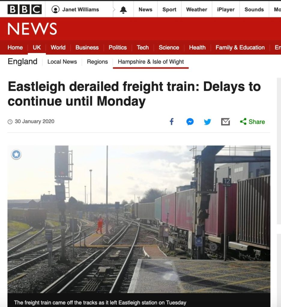 Eastleigh derailed freight train: Delays to continue until Monday