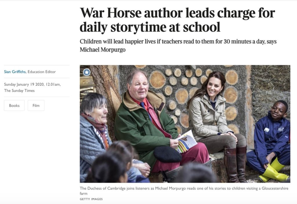 Children will lead happier lives if teachers read to them for 30 minutes a day, says Michael Morpurgo