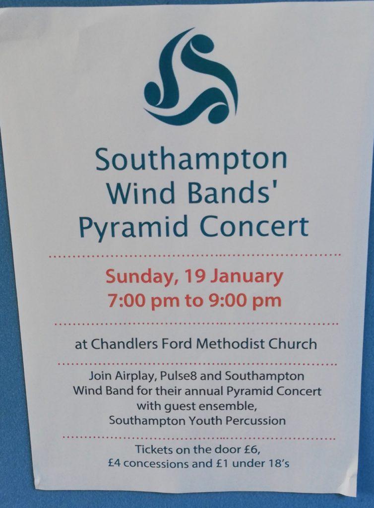 Southampton Wind Band's [yramid concert 19th January at Chandler's Ford Methodist Church