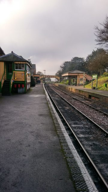 Waiting for the train to come in at Ropley to take us back to Alresford