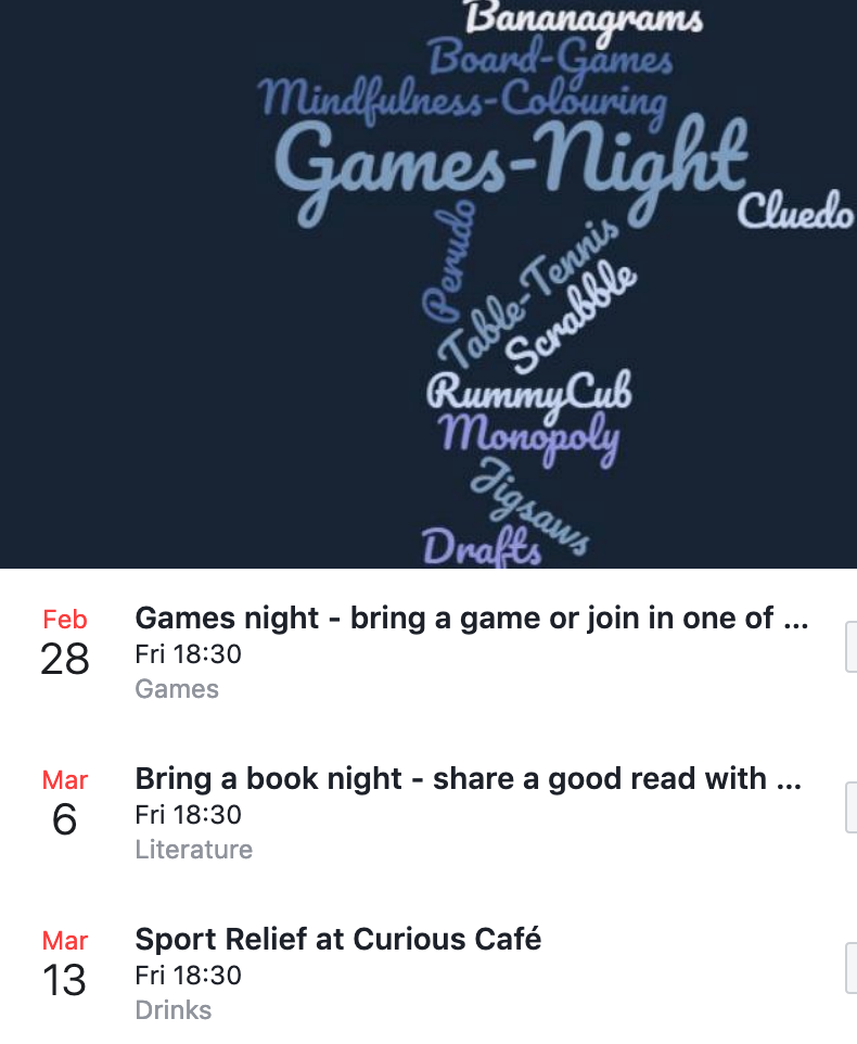 Curious Cafe at Dovetail Centre - Games night, bring a book, Sport Relief.