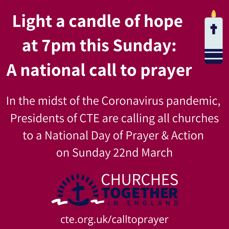 Light a candle of hope at 7pm on Sunday 22nd of March: A national call to prayer