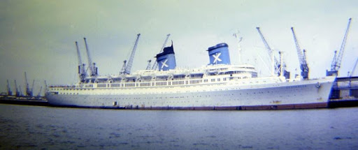 s.s. 'Australis' berthed at Southampton in 1973 in her new grey / white livery.