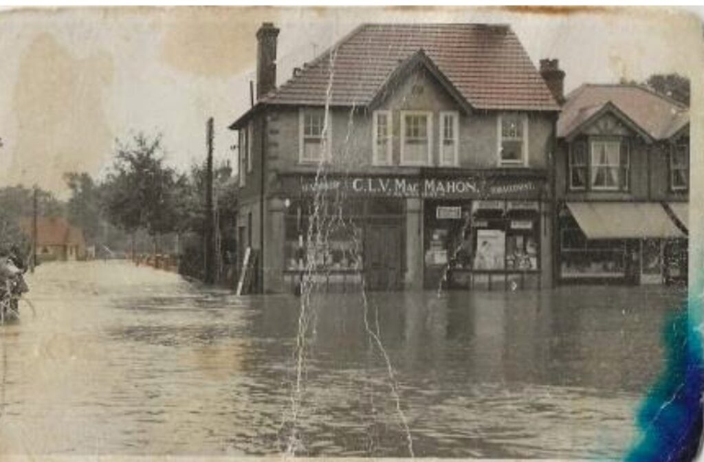 October 1960, the Monks Brook river that ran behind our house burst its banks, in Chandler's Ford.