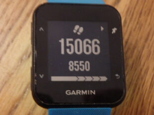 Showing step count on fitness watch