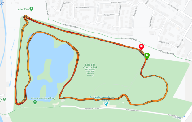 Map of run at lakeside