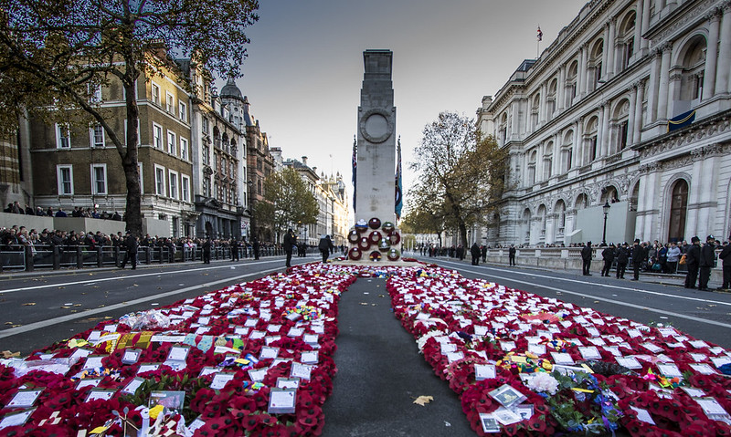 Cenotaph London, Armistice Day 2018. Image via UK Government's Department for Digital, Culture, Media and Sport (CC BY-NC-ND 2.0)