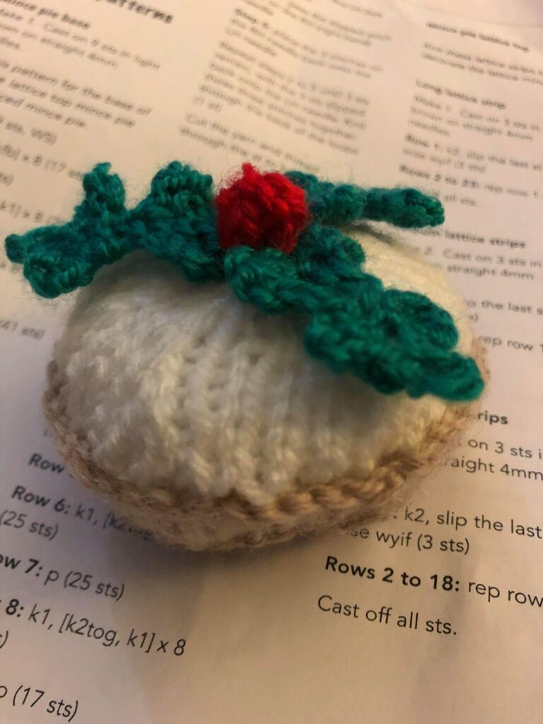 A knitted iced mince pie, by Jill Mayes from Chandler's Ford.
