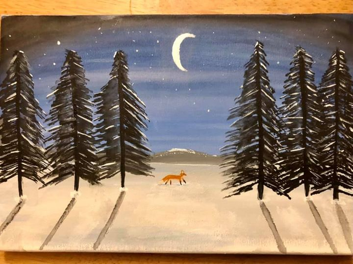 Dominic is starting off the festive season with a winter painting.
