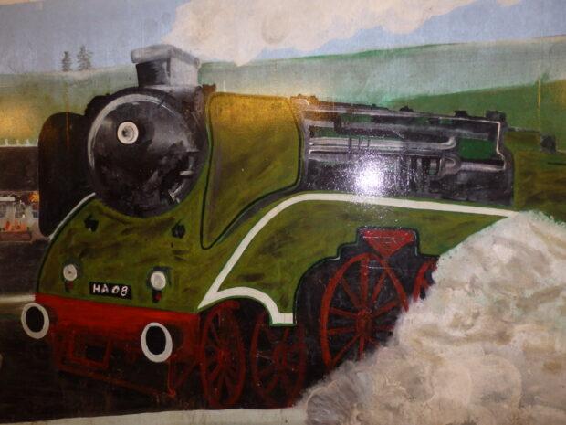 Mural of steam locomotice
