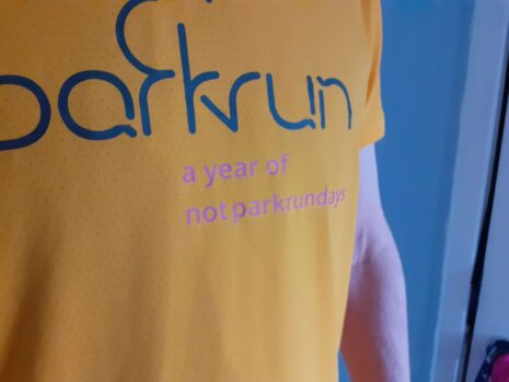 running shirt with slogan a year of not parkrundays