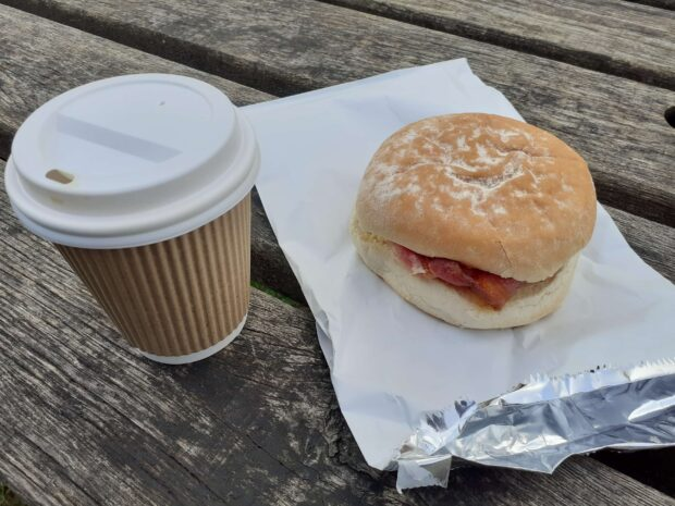 Coffee and bacon roll
