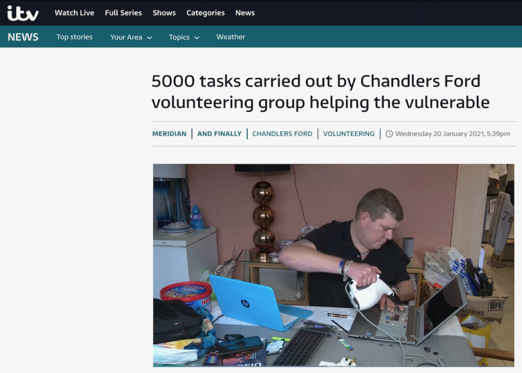 ITV News: 5000 tasks carried out by Chandlers Ford volunteering group helping the vulnerable