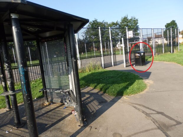 You can see how close the litter is to the bins (circled in red)