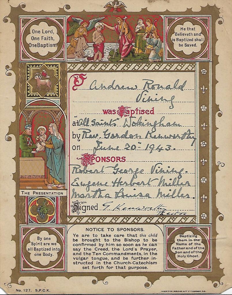 A handwritten christening certificate