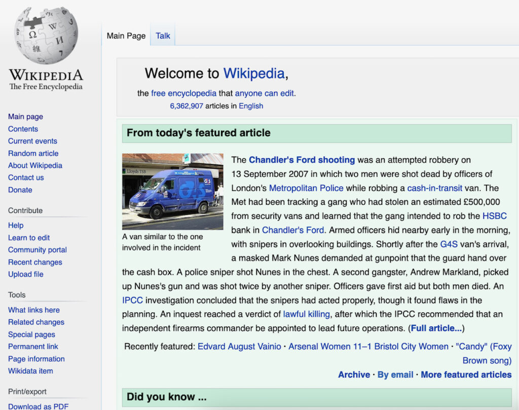 Chandler's Ford featured in Wikipedia 24.08.2021 (screenshot 24.08.2021)