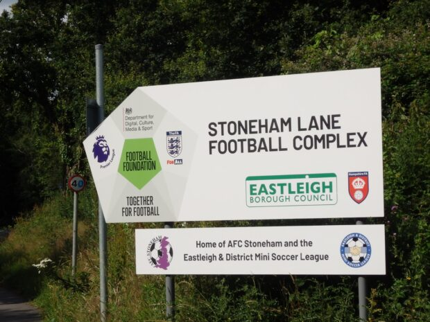sign for football complex