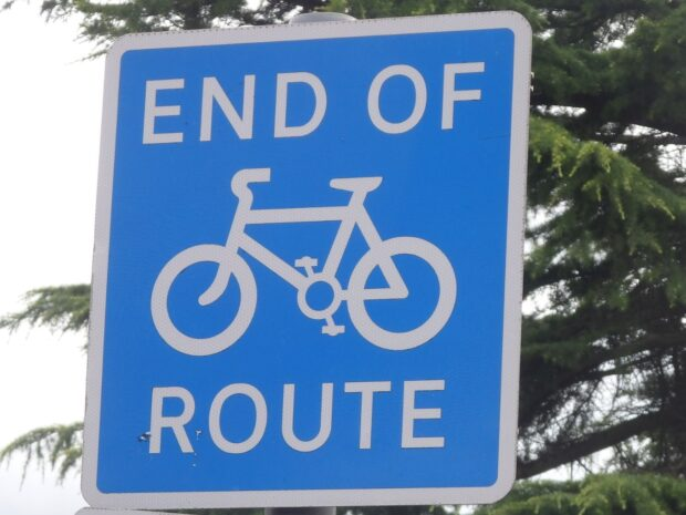end of cycle route with picture for cycle