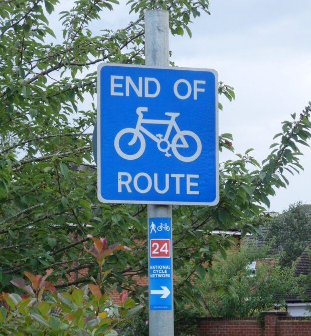 cycle route end and start