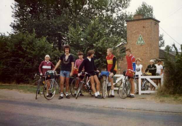 A group of cyclists at Greens Norton Youth Hostel in 1983 (Picture credit: Sludgeon via Flickr.com)