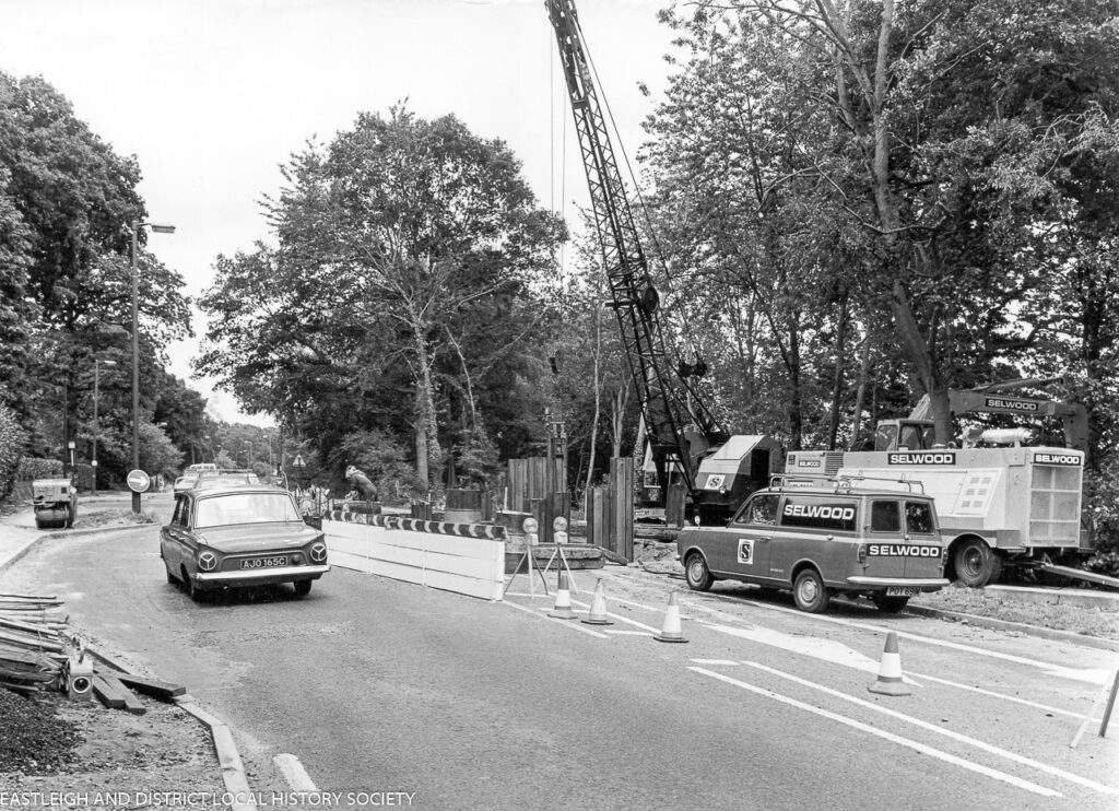 Construction of the pedestrian subway under Winchester Road near Thornden School, Chandlers Ford, August 1975. image via Eastleigh and District Local History Society.