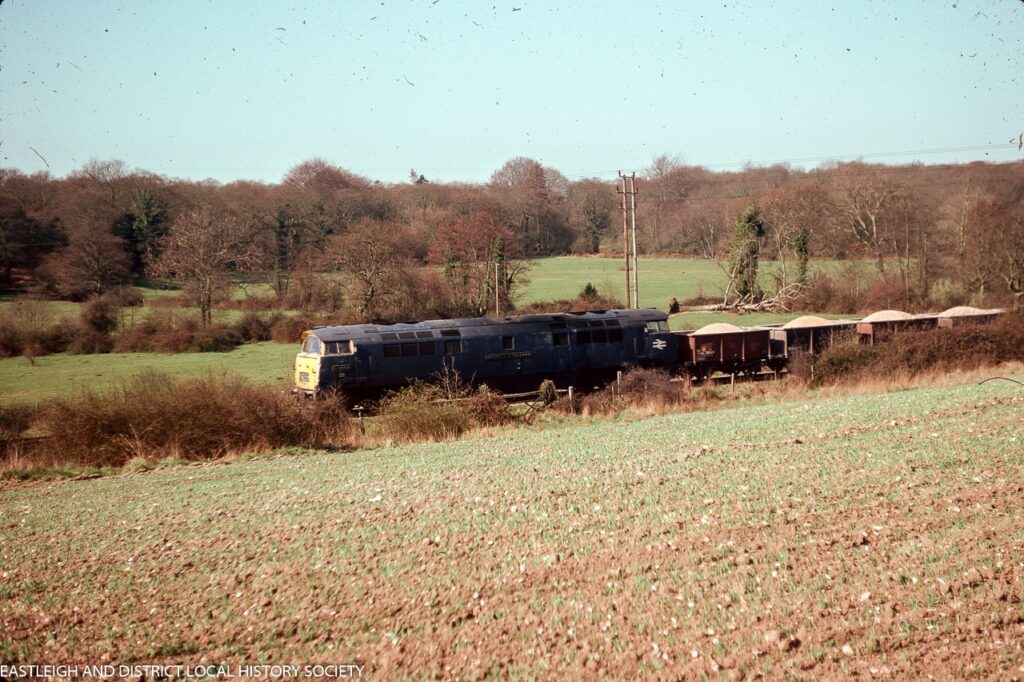 Stone train, Chandler's Ford, pre-Millers Dale, April 1976 (for rail enthusiasts, the loco is D1058 Western Nobleman). Image via Eastleigh and District Local History Society.